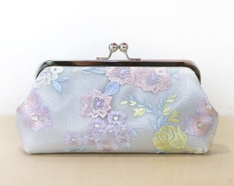 Bluish Grey Floral Bridal Clutch with Thread Embroidery, Bridesmaid Gift, Bridal Clutch, wedding gift Spring
