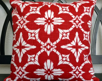 18 x 18 Outdoor Pillow Cover, Red and White Outdoor Pillow Cover, Throw Pillow Cover, Ready to Ship!