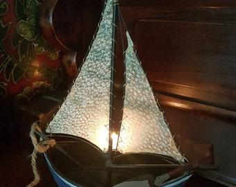 Hey Sailor Vintage German Sailboat Figure Tea Light Candle Holder Lantern Metal and Hide Mid Century Boat Candlelight Boat Decor Ship Inc
