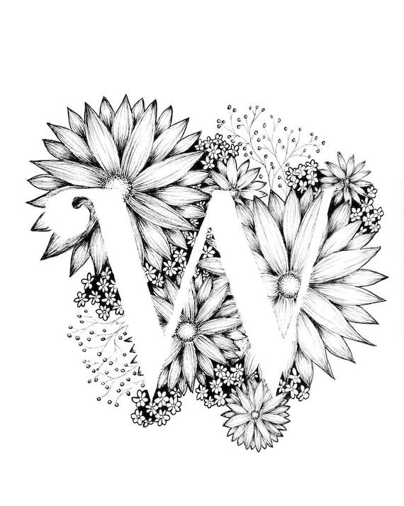 Letter W Print Alphabet Calligraphy Typography Monogram