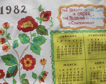 Vintage Cotton Tea Towel, 1982 Calendar, Lime Green and Orange, Calendar Tea Towel, 28 x 17