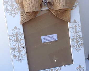Shabby White 8x10 with all over Champagne Damask Designs