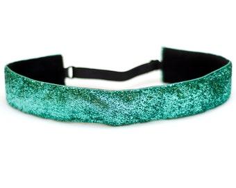 Adjustable Non-Slip Headband - Extra Wide Aqua Glitter