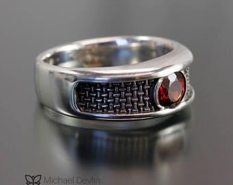 mens ring, sterling silver with almadine garnet, weave pattern