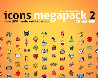 Icons Mega Pack 2 - hand drawn icons clip art, holidays icons, baby animals clipart, activities and recreation clipart, sketched icons