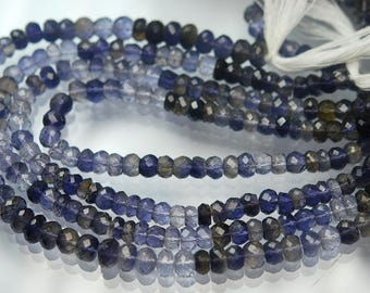 10 Inch Strand, Natural WATER SAPPHIRE IOLITE Micro Faceted Rondells, 6mm Size,