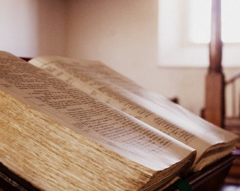 Bible Photography - Irish Church Fine Art Print - Open Book - Northern Ireland - Psalm 118 - O give thanks unto the Lord - 8x12