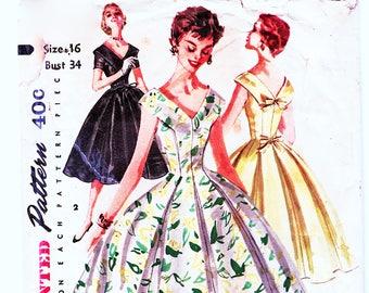 1950s Rockabilly Dress Pattern Simplicity Misses size 16 Bust 34 Full Skirt Dress V Neckline Vintage Sewing Pattern