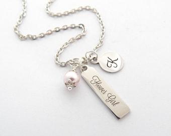 PERSONALIZED Flower Girl Proposal Gift-Silver Flower Girl NECKLACE-Flower Girl Sale- Initial Necklace-Little Girl Jewelry-Dainty Bar Jewelry