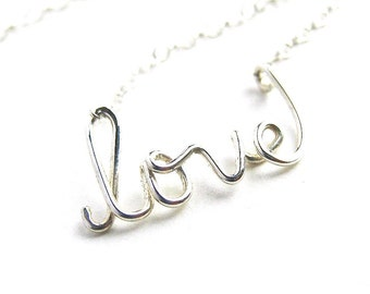 Silver love Necklace. Sterling Silver Love Necklace. Lowercase love wire necklace