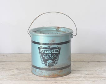 Vintage Blue Falls City  Metal Minnow Bucket The Anglers Choice