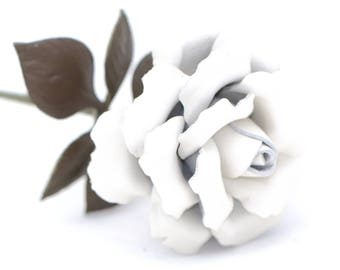 Leather rose white long stem leather flower third anniversary wedding gift 3rd anniversary leather anniversary bouquet