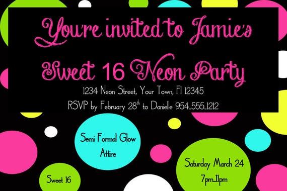 Neon sweet 16 birthday invitation template 4x6 filmwisefo Choice Image
