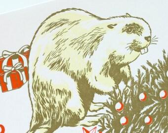 SALE - Beaver Christmas Holiday Letterpress Card - Merry Dam Xmas - 60% off