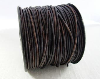 Natural Dark  Brown Leather Cord, Genuine Leather Cord, 1 mm Round Leather Cord, Bracelet Necklace Leather
