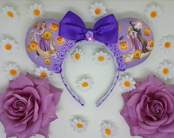 Tangled Rapunzel Inspired light up Mouse Ears Headband and Bow by PrincessandPetticoat