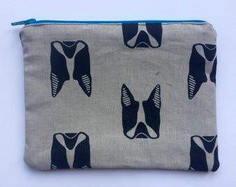 Small Boston Terrier zippered bag (blue zipper)