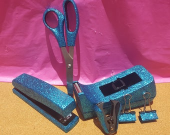 Blue Turquoise Glitter Office Supplies, Turquoise Tape Dispenser, Turquoise Stapler, Turquoise Staple Remover, Glitter Office Supplies