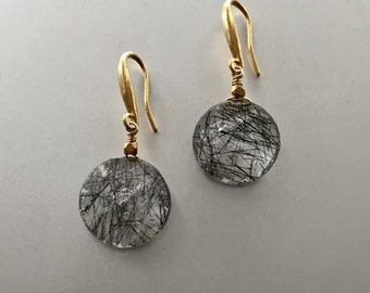 Black Tourmalinated Quartz and Vermeil Earrings