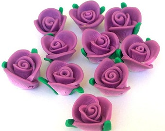 10 plum purple flower beads, polymer clay roses, about 13mm x 9mm, deep purple poly clay