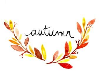 Autumn Printable, Fall Printable, Watercolor Printable, Fall Watercolors, Fall Flowers, Fall Leaves, Instant Download, Digital File, 8x10