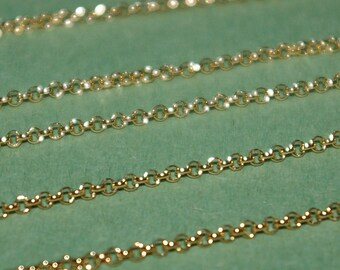WHOLESALE LOTS 14kt Gold Filled 1.8mm ROLO / Belcher Chain Bulk Continuous By the foot An economical alternative to Solid Gold Free Shipping