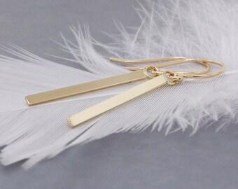 14k Gold Bar Earrings - Bar Earrings Mothers Day Gift - Long Bar Earrings - Minimal Earrings - Dangle Earrings - Delicate Earrings