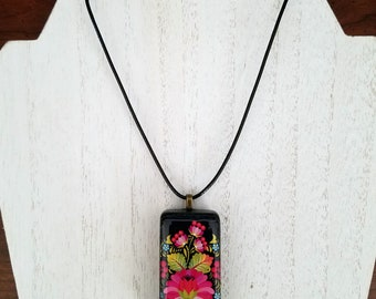 Domino resin jewelry necklace unique floral fun affordable teacher gift