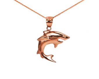 14k Rose Gold Shark Necklace