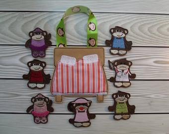 5 Little Monkeys Finger Puppet Set