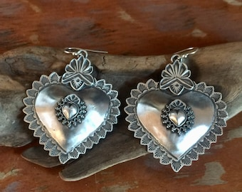 EBH3 The Santa Fe Heart repousse with the Taos Heart overlay sterling silver southwestern native style earrings