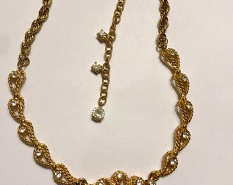 Hattie Carnegie Designer Signed Gold Tone Rhinestone Necklace