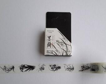 plant washi tape. black and white washi, tape, MT, 15 mm x 7 m, washi, scrapbooking,