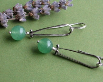 Valerie Green: Sterling Silver Oxidized Riveted Dangling Green Aventurine Long Loop Earrings