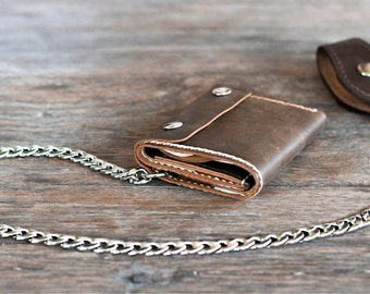 Trifold Chain Wallet - Wallet - Men's Leather Biker Wallet - Chain Wallets - Manly Man Wallets -- Listing# 037