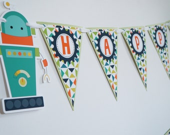 Robot Banner - Robot Birthday Banner - Robot Birthday Party - Robot Decorations - Robot First Birthday - Bot - Bots - Robot Theme