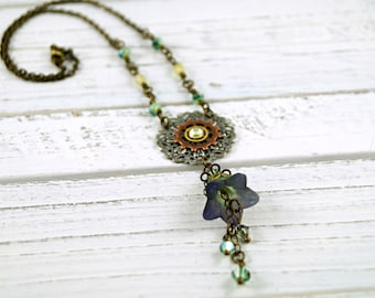 Lucite Flower Steampunk Necklace, Green and Blue Brass Necklace, Vintage Style Necklace