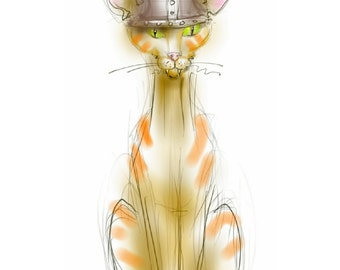 "Greetings card: ""The Viking Cat"" - art card, funny cat, ginger cat, blank inside. Drawing by Nancy Farmer."