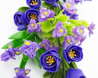 Miniature Polymer Clay Flowers Violet Bouquet Supply for Dollhouse and Handmade Gifts 1 set