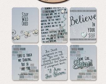Digital Scrapbook, 3x4 Journaling and Decorative Cards: Inspirational Journal Cards Vol I