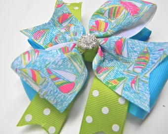 Lilly Hair Bow - You Gotta Regetta Hair bow- Sailboat Hair bow - Hot pink, blue Bow
