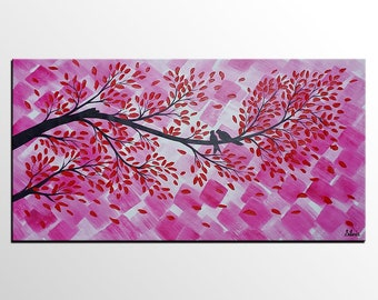Love Birds Painting, Original Painting, Oil Painting, Canvas Painting, Wall Art, Abstract Art, Wedding Gift, Large Art, Abstract Painting