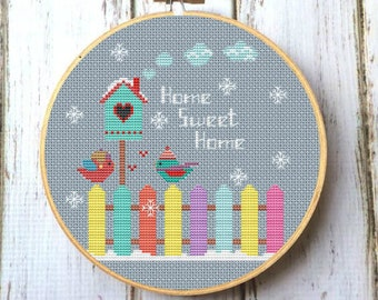 Home Sweet Home cross stitch pattern Instant Download DIY gift Cross Stitch Chart Modern cross stitch pattern PDF Cross stitch bird X193