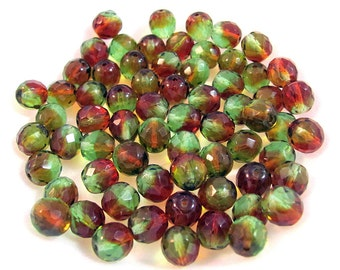 50 Two Color Czech Glass Round Faceted Beads 10 mm