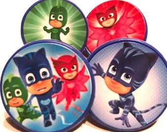 PJ Masks Cupcake Toppers - 12 - Cupcake Topper Rings, PJ Masks Cake Toppers, PJ Masks Birthday Party Cupcake Toppers