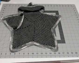Star shaped hooded baby bunting-grey