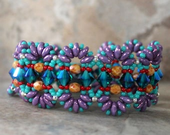 Colorful Bracelet with Superduos and Swarovski Crystals
