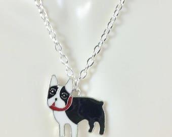 Boston Terrier Charm Necklace - Boston Terrier Jewelry - Terrier Necklace - Boston Terrier Charm - Boston Terrier Dog Pendant Necklace