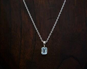 Blue Topaz Pendant, Blue Topaz and Silver Necklace, Birthstone Jewellery, Square Blue Topaz, Simple Gemstone Pendant, Sterling Silver