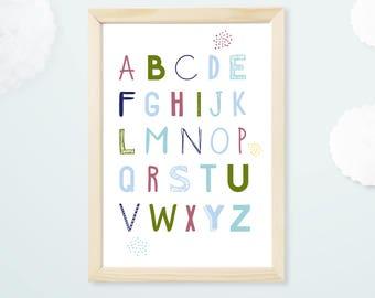 Kids poster, alphabet, letters, decor, illustration, nursery baby bedroom, child decor, poster, typography